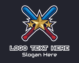 Pitch - Baseball Bat Stars logo design