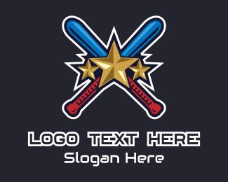 Cricket Bat - Baseball Bat Stars logo design