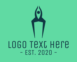 Space Ship - Human Rocket Ship logo design