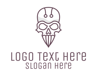 Bone - Modern Skull Outline logo design