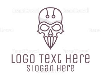 Diablo - Modern Skull Outline logo design