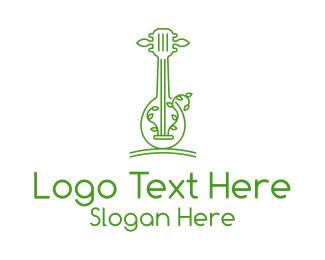 Leaf - Green Guitar Outline logo design