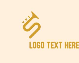 Orchestra - Golden S Horn logo design