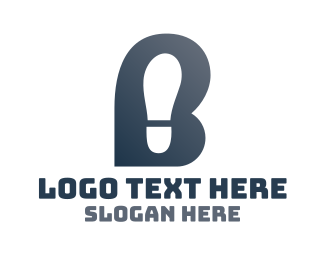 Foot - Letter B Shoe Footprint logo design