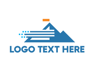 Tourism - Abstract Windy Mountain logo design