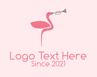 Trumpet Player - Flamingo Trumpet Player  logo design