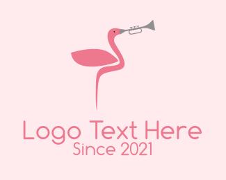 Flamingo - Flamingo Trumpet Player logo design