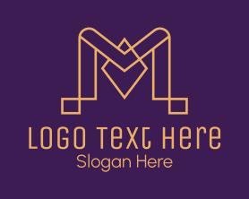 Company - Golden Letter M logo design