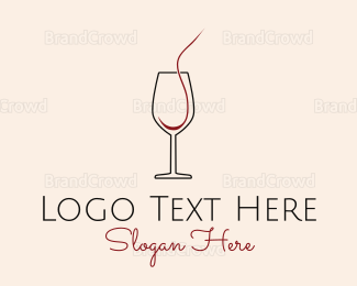 Bartending - Red Wine Glass Cup  logo design