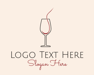 Draft - Red Wine Glass Cup  logo design
