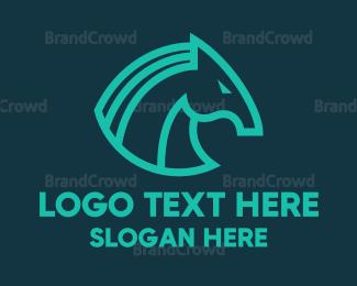 Horse - Red Trojan Horse  logo design