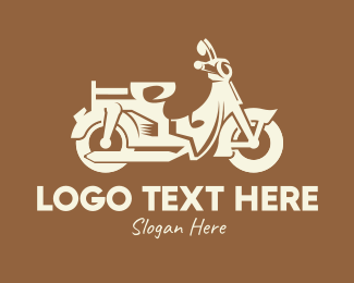 Riding - Retro Scooter Motorbike logo design