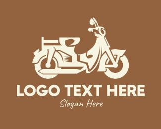 Retro Scooter Motorbike logo design