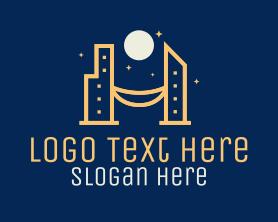 Night - Night City Skyline logo design