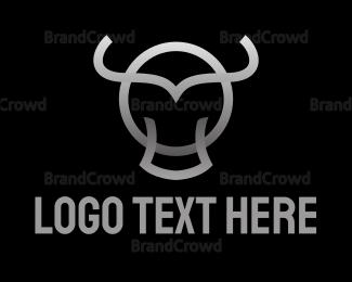 Cattle - Gradient Bull Outline logo design