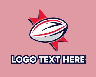 Rugby - Ribbon Rugby Ball logo design