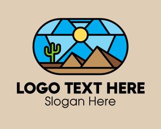 Tourist Destination - Desert Cactus Landscape Mosaic  logo design