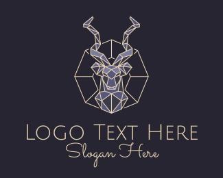 Impala - Geometric Antelope Bust logo design