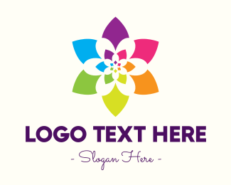 Colored - Rainbow Star Flower logo design