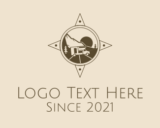 Motel - Brown Compass Camper Van logo design