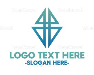 Company - Blue & Triangular logo design