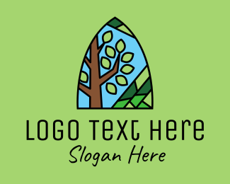Stained - Nature Tree Mosaic  logo design