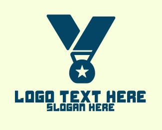 Winning - Medal Letter V logo design