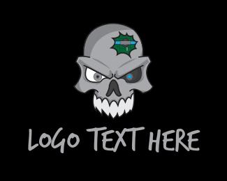 Cranium - Robot Skull logo design