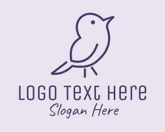 Bird - Small Purple Bird  logo design
