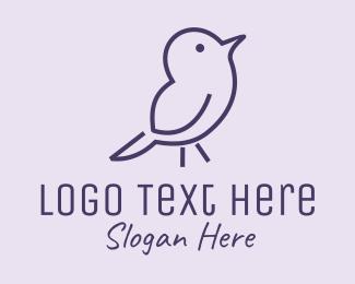 Finch - Small Purple Bird logo design