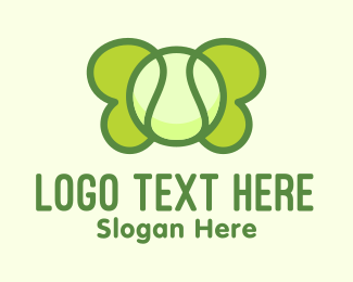Tennis Ball - Green Tennis Butterfly logo design