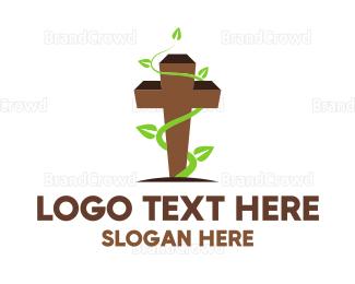 Christian - Vine Cross logo design