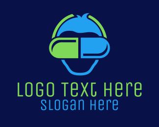 Vr - VR Goggles Pill logo design