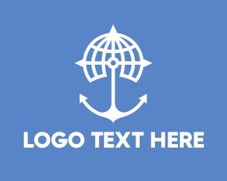 Explorer - World Anchor Compass Globe logo design
