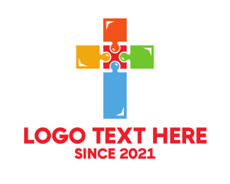 Bible Study - Colorful Jigsaw Cross logo design