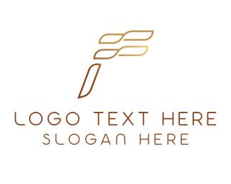 Letter - Bronze Letter F logo design