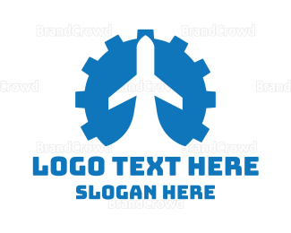 Commercial Plane - Blue Gear Airplane logo design
