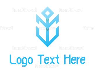 Cryptic - Modern Blue Anchor  logo design