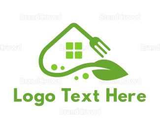 Farm To Table - Fork Leaf House logo design