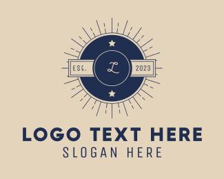 Symbols - Blue Hipster Letter logo design