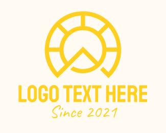 Initial - Yellow Sun Letter A logo design