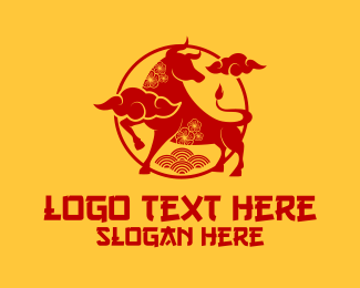 Chinese - Red Ox Chinese Zodiac logo design