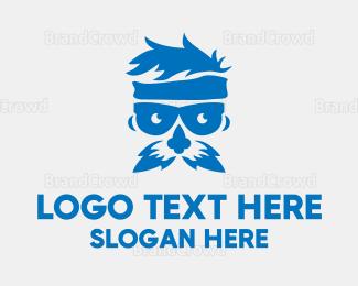 Moustache - Blue Old Man logo design