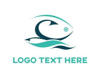 Water - Fishing Hook  logo design