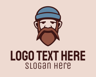 Barbershop - Mustache Beard Man  logo design
