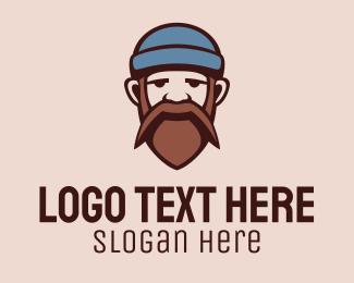Skater - Mustache Beard Man logo design