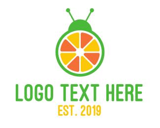 Orange Juice - Orange Fruit Bug logo design