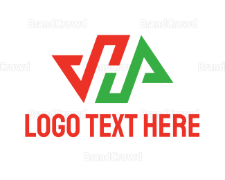 Flow - Red Green Arrow H logo design