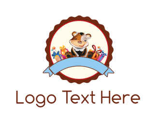 Present - Teddy Bear  logo design