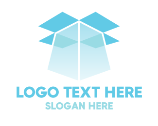 Open - Blue Box Light logo design